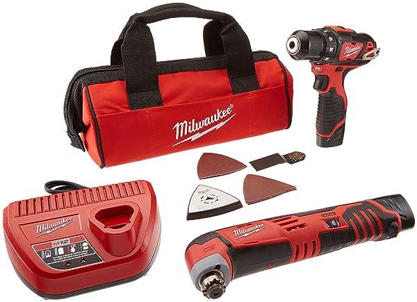 Milwaukee 2495-22 M12 Combo 3/8 Drvdrl/Multi-tool W/2 Bat (Color: Red)