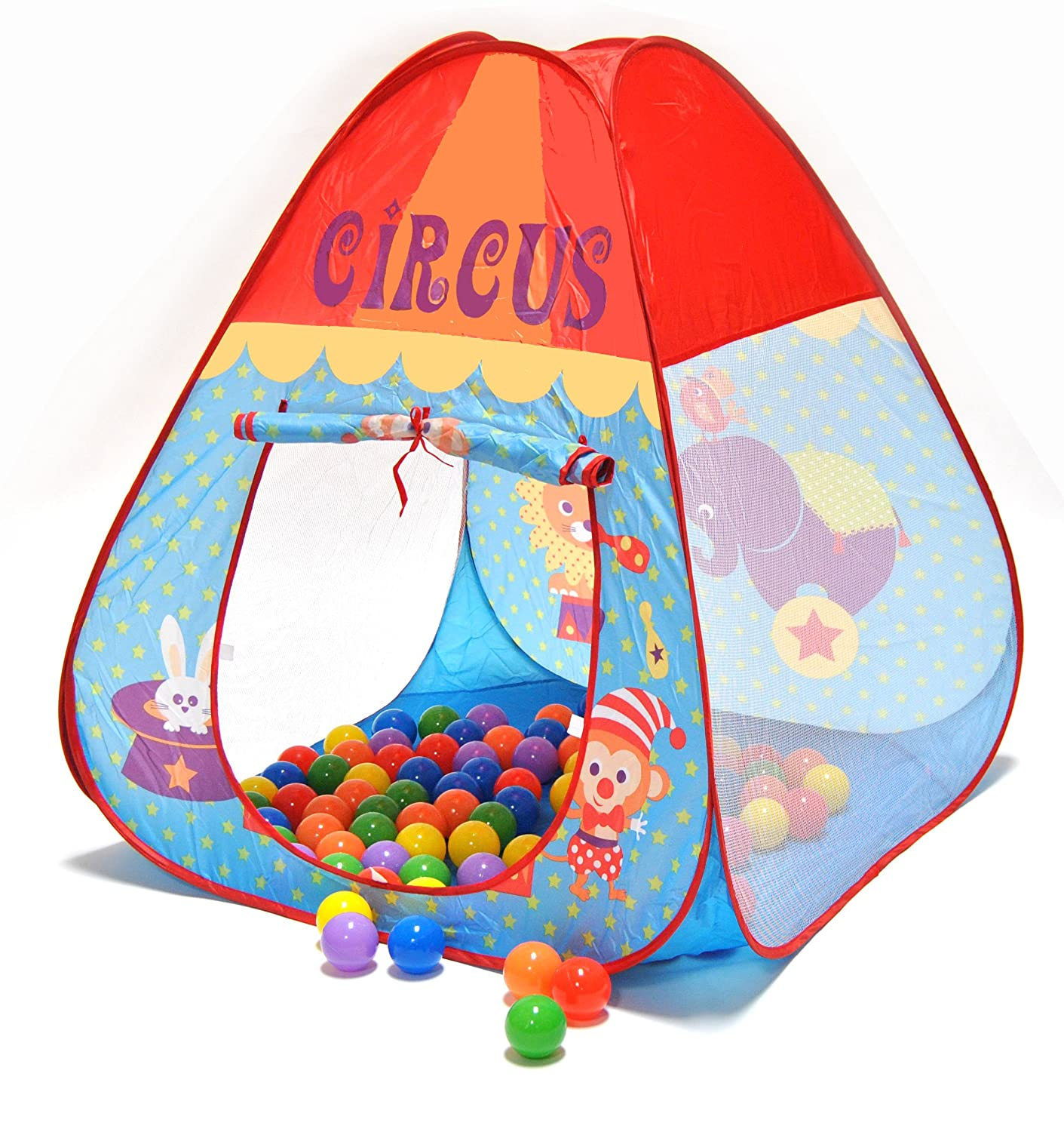 Circus Theme Twist Play Tent House w/ Safety Meshing for Child Visibility & Tote Bag