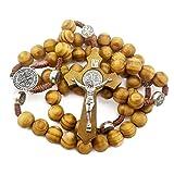 Nazareth Store Wood Beads Rosary Necklace Saint Benedict Medal & Catholic Cross Religious Prayer Chaplet String Handmade - Velvet Bag (Color: WOOD , BROWN, Tamaño: (H X W) Cross: 6cm x 3.5cm / 2.4