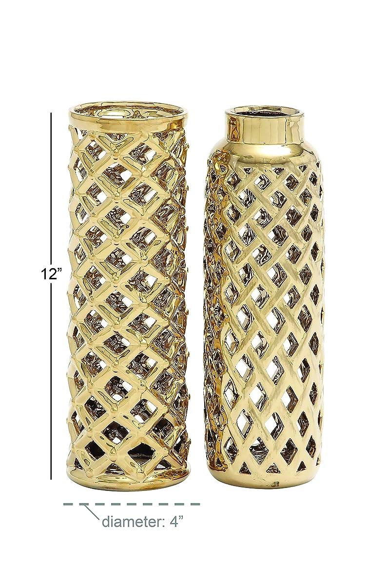 """Deco 79 Ceramic Vase 2 Assorted 4""""W, 12""""H"""