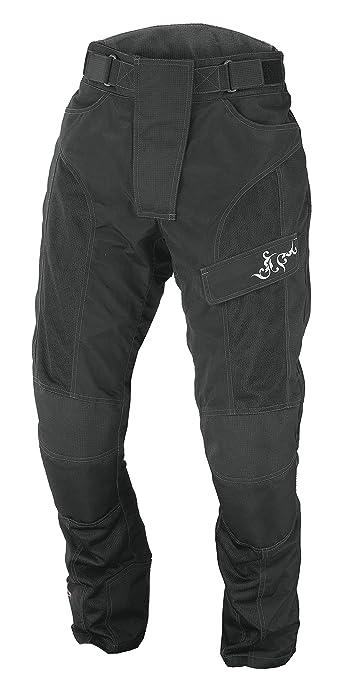 NERVE 1510020604_06 Run Girl Pantalon Moto d'Eté Textile Femme, Noir, Taille : 44