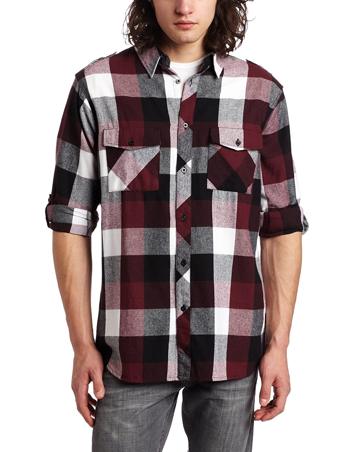 Burnside Young Men's Demi Flannel Shirt, Burgundy, X-Large