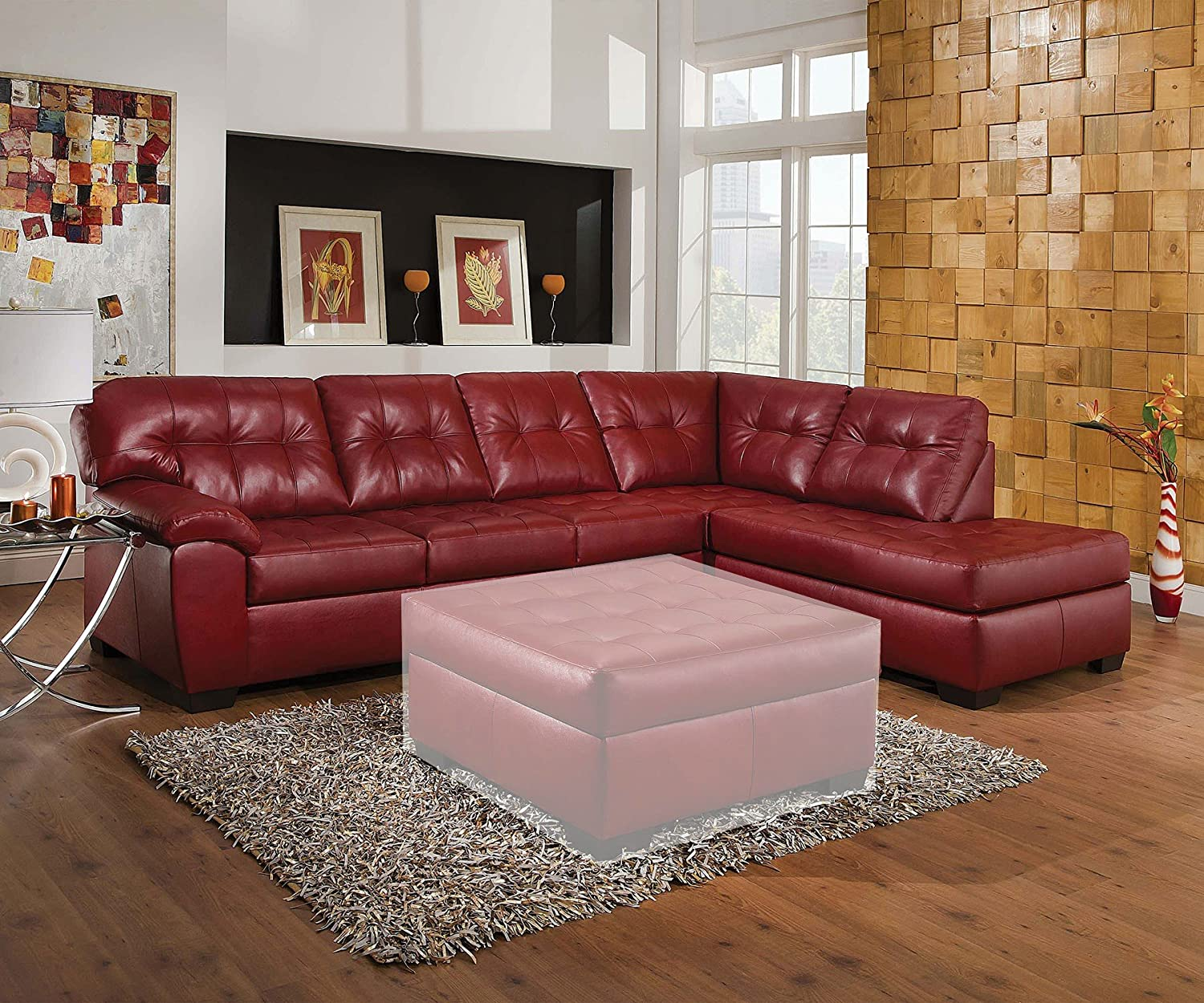 1PerfectChoice Shi Soho Cardinal Leather Sectional Sofa Right Chaise