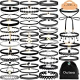Outee Choker Necklace Set Black Velvet Choker Tattoo Necklace Classical Gothic Chokers for Women Girls (42 Pcs) (Tamaño: 42 Pcs)