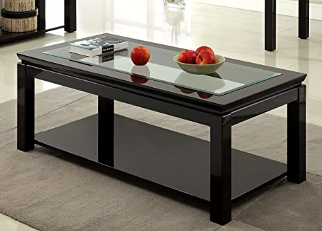 Furniture of America Kappa Contemporary Glass Top Coffee Table, Black