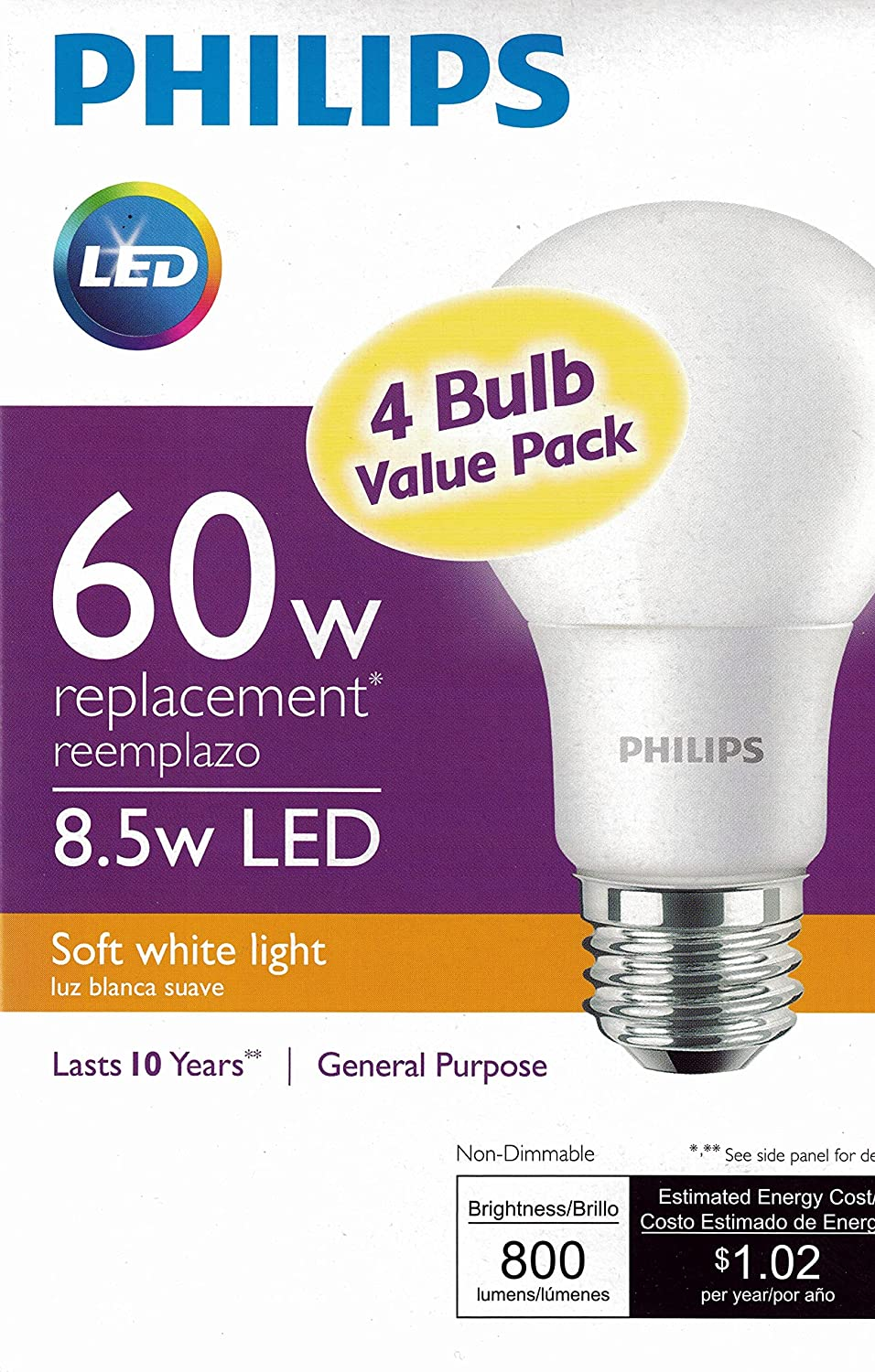 philips new 60 watt equivalent a19 led light bulb soft. Black Bedroom Furniture Sets. Home Design Ideas