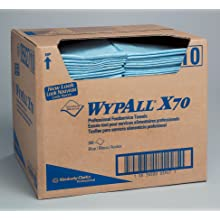 "Kimberly-Clark Wypall X70 Hydroknit Foodservice Towel, 23-1/2"" Length x 12-1/2"" Width, Blue (Case of 300)"