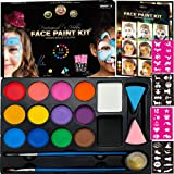 Face Paint Kit for Kids - 14 Professional Face Paints, 40 Jumbo Stencils, 2 Brushes, 2 Sponges, Gold Makeup Loose Glitter - Safe Face and Body Painting Kit for Sensitive Skin, Face Painting Book (Color: White, Black, Yellow, Red, Orange, Pink, Purple, Blue, Green, Brown, Tamaño: 14 Face Paints + Face Paint Book)