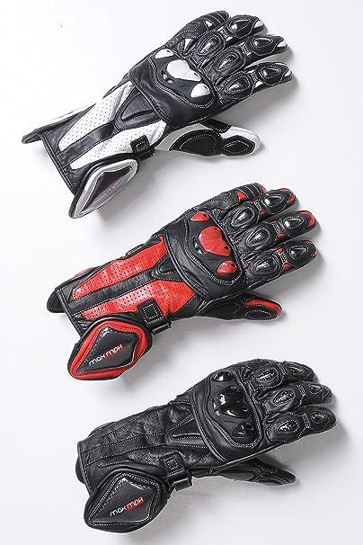 MAX MPH Apex SP- - Gants de moto en cuir - Renforcés pour protection optimale en cas de chute - Blanc et Noir / Carbon / Taille L