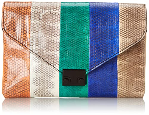 Loeffler Randall Color-Blocked Snake Clutch (Blue/Natural)