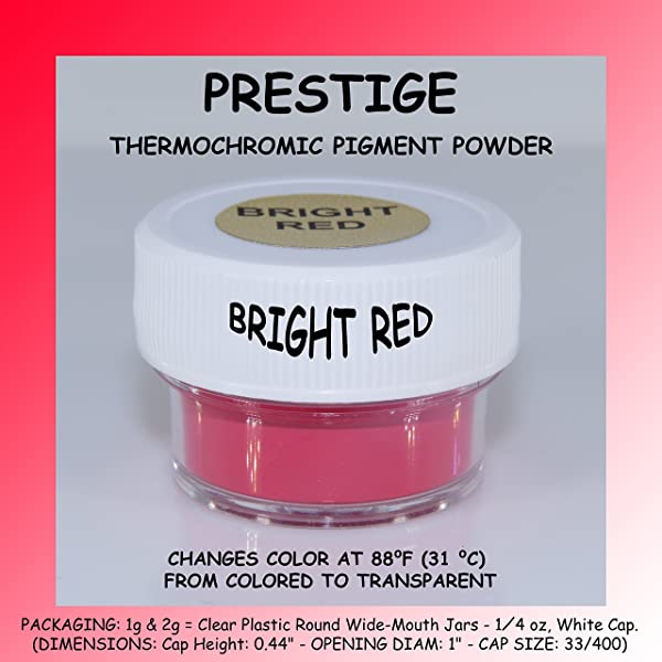 Prestige THERMOCHROMIC Pigment That Changes Color at 88°F (31 °C) from Colored to Transparent (Colored Below The Temperature, Transparent Above) Perfect for Color Changing Slime! (2g, Bright RED) (Color: BRIGHT RED, Tamaño: 2g)