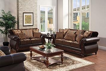 Furniture of America Esmeralda Fabric and Leatherette Love Seat, Dark Brown Finish