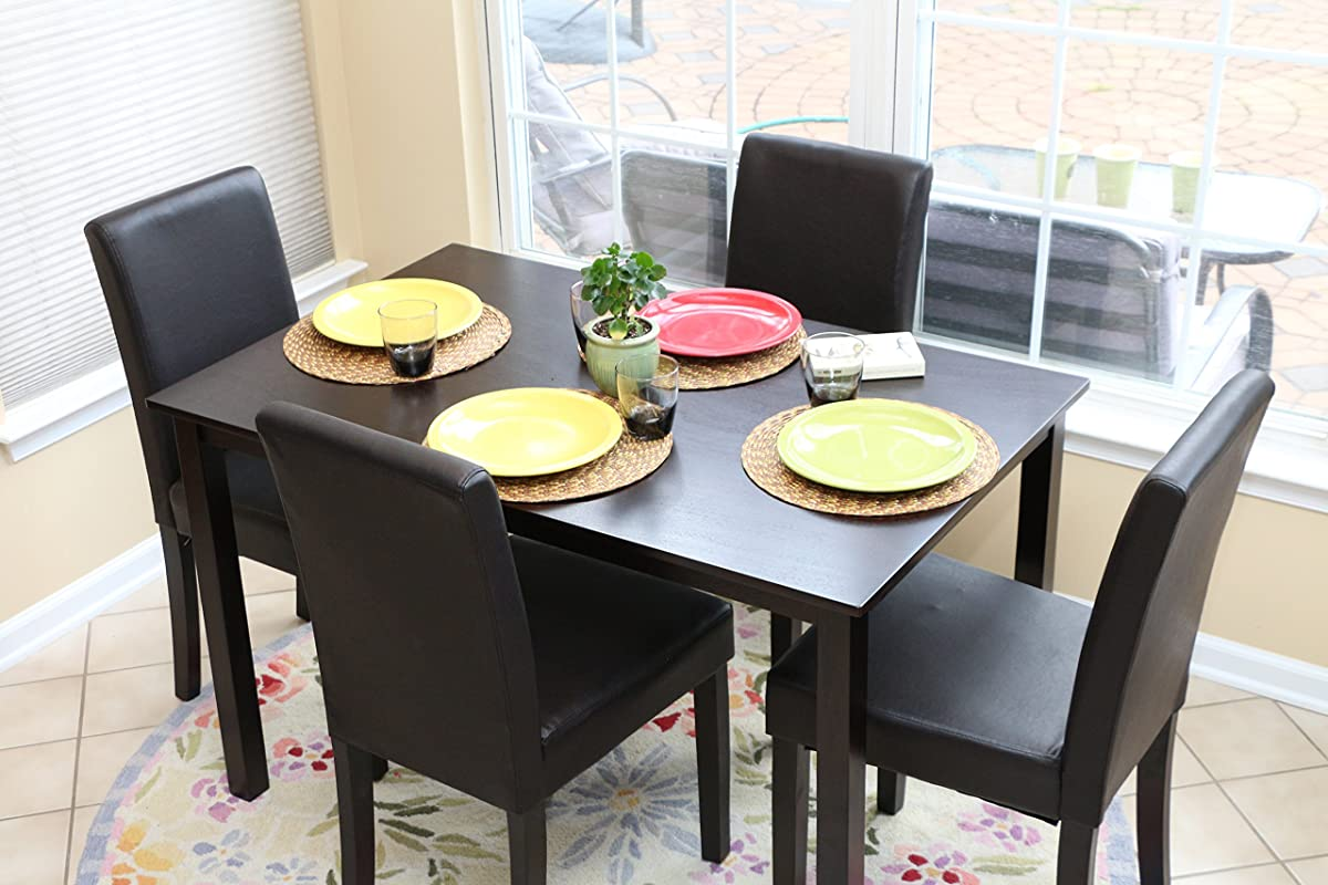 5 PC Black Leather 4 Person Table And Chairs Brown Dining