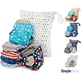 Simple Being Reusable Cloth Diapers, Double Gusset One Size Adjustable Washable Soft Absorbent Waterproof Cover Eco-Friendly Unisex Baby Girl Boy with six 4-Layers Microfiber Inserts Outer Space (Color: Space)