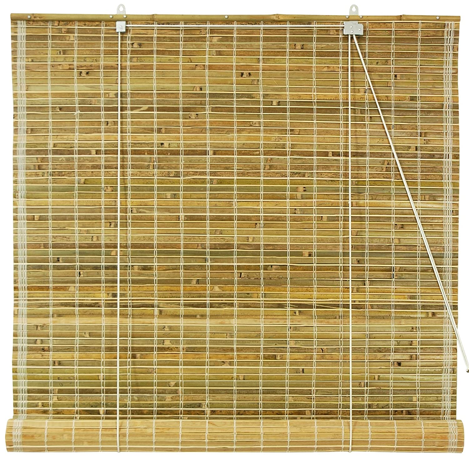 Oriental Furniture Burnt Bamboo Roll Up Window Blinds Natural 48 Inch Wide