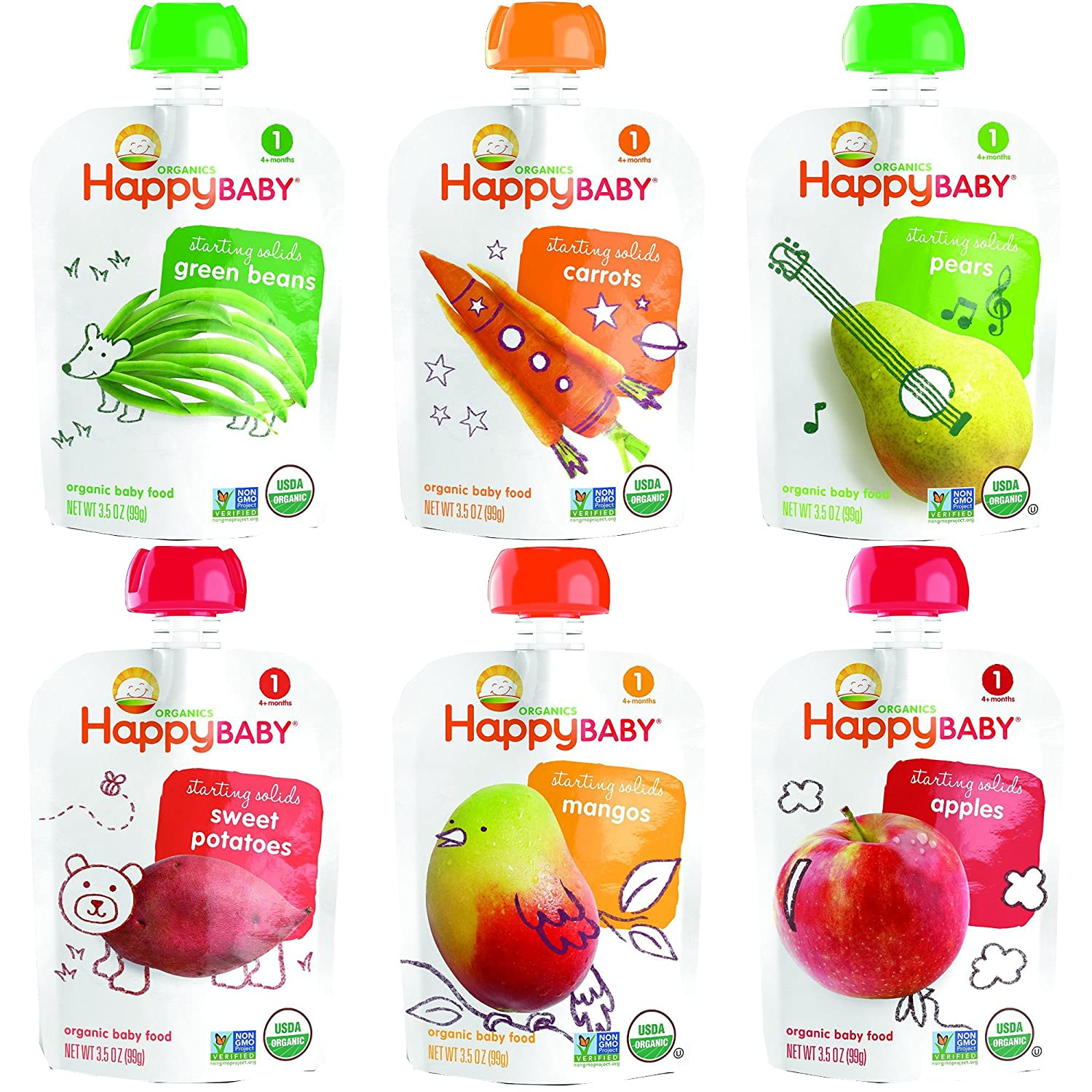 Happy Baby Organic Baby Food Stage 1 Starting Solids 6 Flavor Variety Pack (Pack of 12)