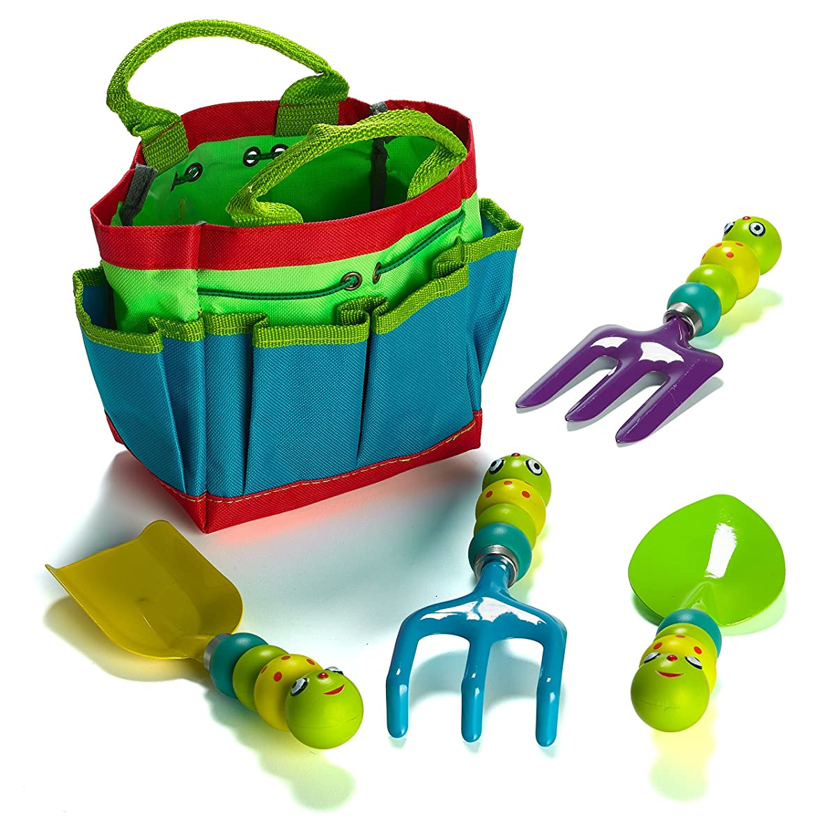 Prextex Metal, Sturdy Garden Tools, Kids Garden Tool Set Includes Canvas Tote and 4 Garden Tools with Adorable Bugs as Tool Handles