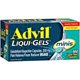 Advil Liqui-Gels Minis (160 Count) Pain Reliever/Fever Reducer Liquid Filled Capsule, 200mg Ibuprofen, Easy to Swallow, Temporary Pain Relief