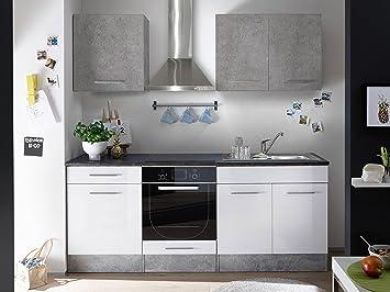 """Kuche """"Mini"""" Kuchenblock Kuchenzeile Komplettkuche 210cm Singlekuche Minikuche Kleinkuche weiß grau beton"""