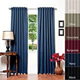 Solid Thermal Insulated Blackout Curtain 95L- 1 Set-NAVY