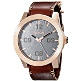 NIXON Men's Corporal Series Analog Quartz Watch / Leather or Canvas Band / 100 M Water Resistant and Solid Stainless Steel Case (Color: Rose Gold-Tone/Gunmetal/Brown, Tamaño: One Size)