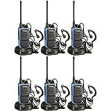 ARCSHELL RADIOS DE DOS VÍAS RECARGABLES DE LARGO ALCANCE -  con auricular Paquete de 6 UHF 400-470 Mhz Walkie Talkies Batería de ión de litio y cargador incluidos