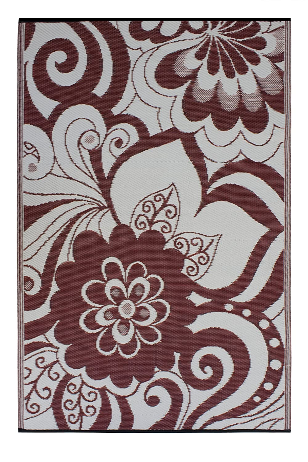 Fab Habitat Maui Indoor/Outdoor Rug, Cranberry Red and Cream