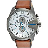 Diesel Men's DZ4280 Mega Chief Gunmetal Brown Leather Watch (Color: Tan Leather, Tamaño: 1 pc)