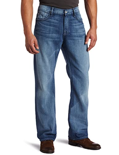 海淘7forallmankind:7 For All Mankind 男士时尚直筒做旧牛仔裤