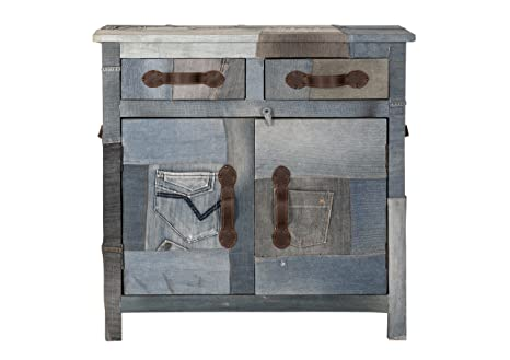 "Sit-Möbel 4709-00 cómoda ""Denim"", 80 x 35 x 80 cm, tablero DM, funda reciclado tela vaquera, azul"