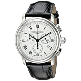 Frederique Constant Men's FC292MC4P6 Persuasion Stainless Steel Chronograph Watch With Black Leather Strap (Color: Black/Silver, Tamaño: Standard)