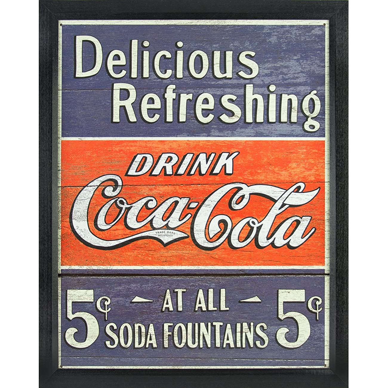 Vintage Delicious Refreshing Coca-Cola Tin Sign, 12.5-Inch by 16-Inch, Distressed Appearance, Framed in .84-Inch Wide Black Picture Frame 0