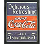 Vintage Delicious Refreshing Coca-Cola Tin Sign, 12.5-Inch by 16-Inch, Distressed Appearance, Framed in .84-Inch Wide Black Picture Frame