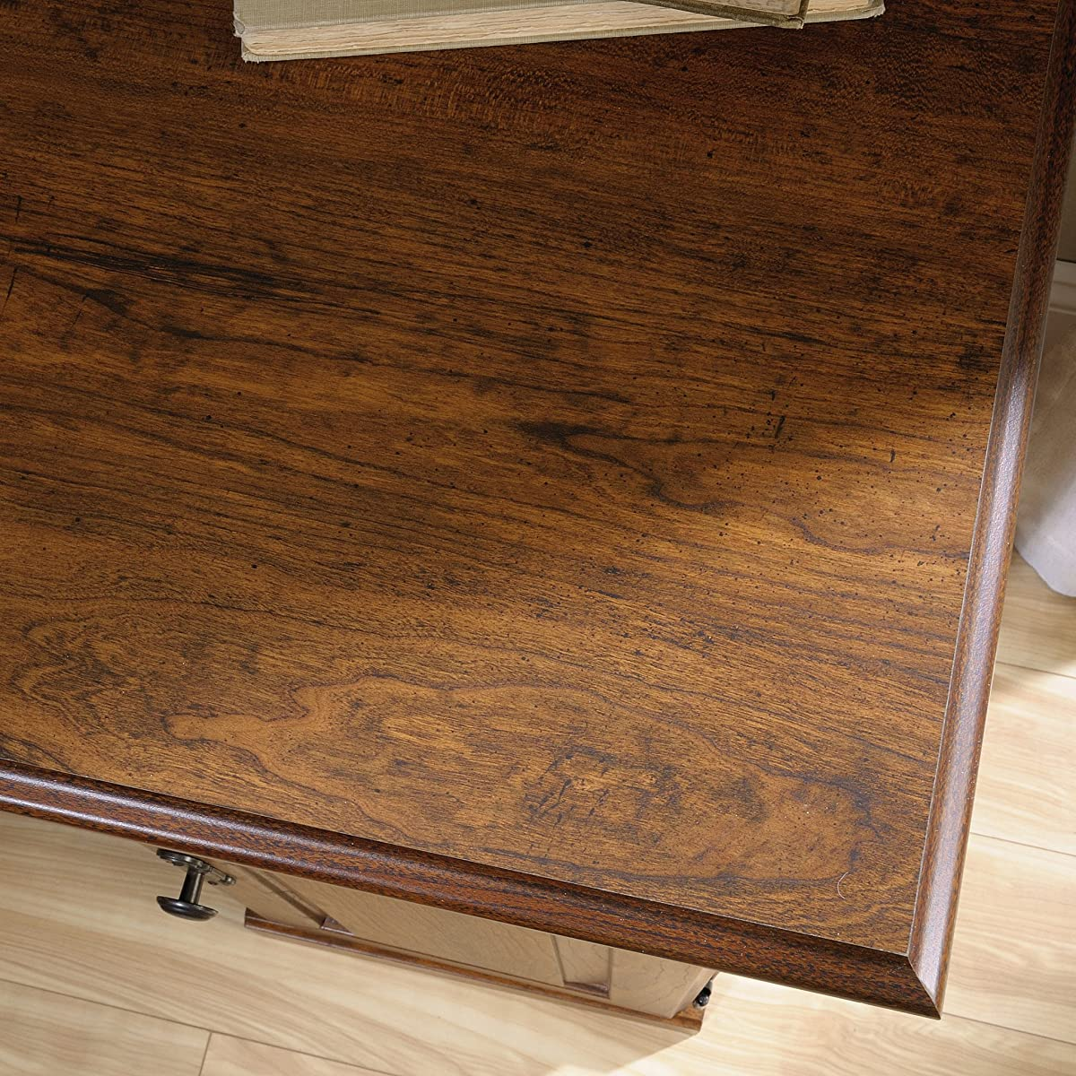 "SauderCarson Forge Side Table, L: 14.173"" x W: 22.441"" x H: 24.646"", Washington Cherry"