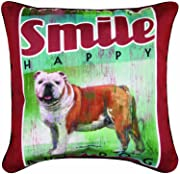 Manual Woodworkers & Weavers Dog Crossing Bulldog Decorative Square Pillow, 18-Inch