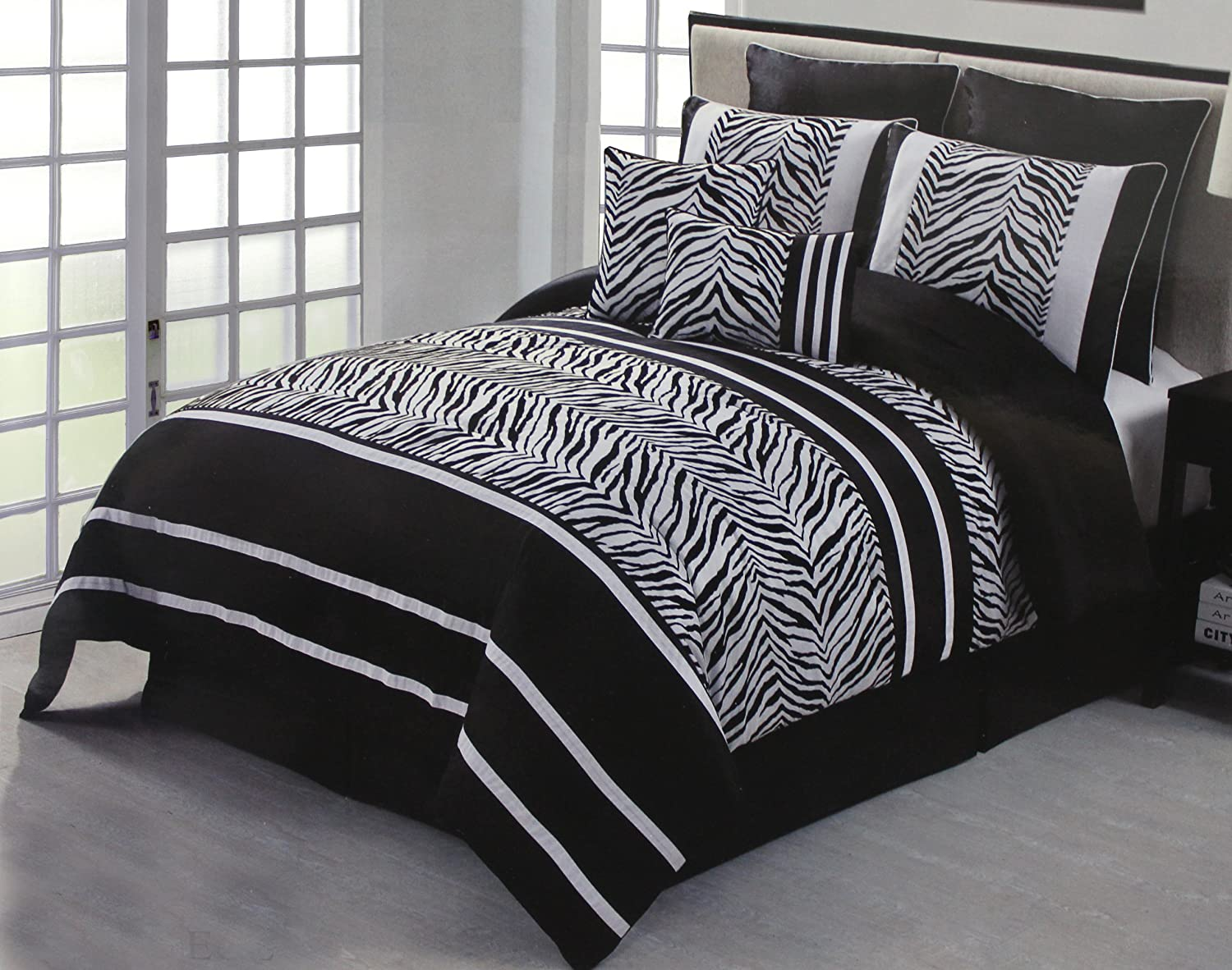 And white flocking zebra comforter bed in a bag set queen size bedding