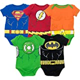 Justice League Baby Boys' 5 Pack Superhero Bodysuits - Batman, Superman, The Flash, Aquaman and Green Lantern (3-6M) (Color: With Aquaman, Tamaño: 3-6 Months)