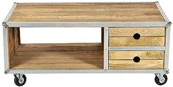 """Sit-Möbel 2283-01 mesa de centro """"los plomos"""", mango de madera sin tratar, de color aluminio formación en goma ruedas, 2 cajones, 1 bolsillo abierto, 120 x 70 x 50 cm"""