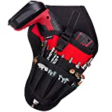 NoCry Fast Draw Drill Holster - Balanced Fit for Cordless T-Drills, 17 Accessory Pockets and Open Loops for Tool and Bit Storage, Belt-Attachment (Color: Black, Red)