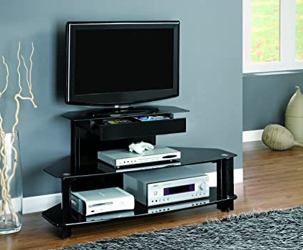 "Glossy Black Wood and Metal 48""L TV Console with Tempered Shelves"