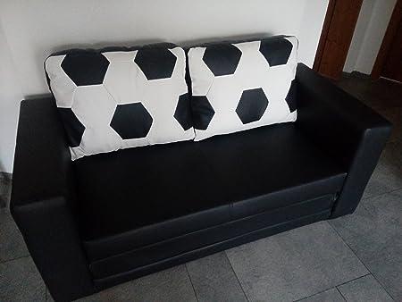Sofa Schlafcouch im Fussball Look weiß schwarz