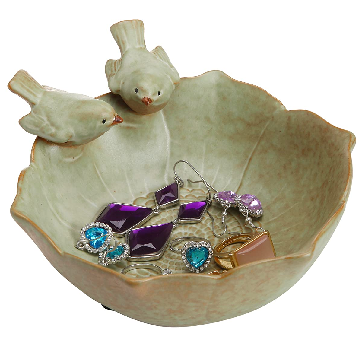 Decorative 2 Birds Garden Design Ceramic Green Serving Bowl / Jewelry Tray / Candy & Nut Dish - MyGift