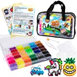 10,500pcs Fuse Beads Craft Kit - Perler Beads Compatible Kit, 34 Colors, 6 Pegboards, 34+ Patterns, Tweezers, Plus Tools, Keychains, Accessories & More with Free Carrying Case by CraftyCreations
