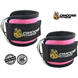 DMoose Fitness Ankle Straps for Cable machines (Single) (Color: Pink, Tamaño: Single)