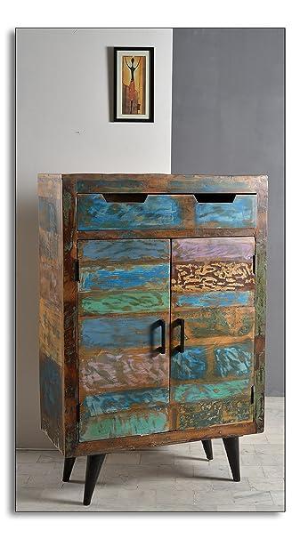 High-Board mit 2 Turen und 1 Schublade aus Altholz mit Metall-Beinen 80x120 cm | Amia | Bunte Kommode im Shabby Chic-Look 2-turig | Side-Board in Handarbeit hergestellt 80cm x 120cm