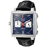 TAG Heuer Men's 'Monaco' Swiss Automatic Stainless Steel and Leather Dress Watch, Color:Black (Model: CAW211P.FC6356) (Color: blue)