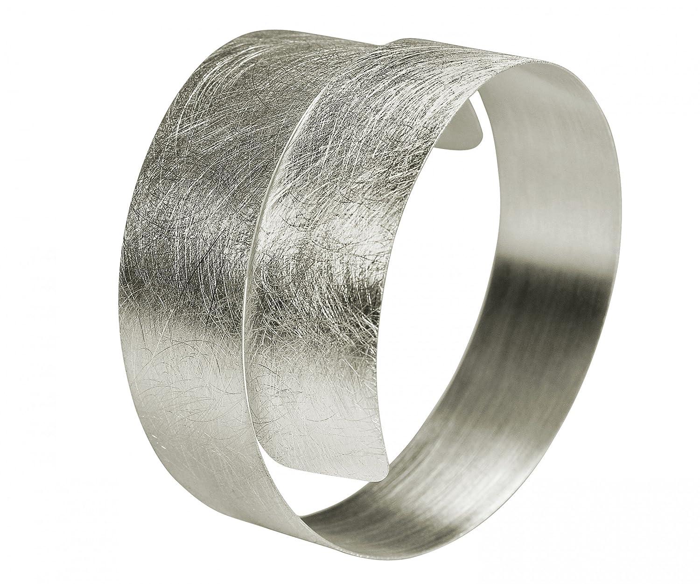SILBERMOOS Damen Armreif Armspange gewickelt flexibel gebürstet Spirale 925 Sterling Silber