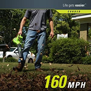 Greenworks 24012 7 Amp Single Speed Electric 160 MPH Blower (Color: Black and Green, Tamaño: 7 Amp 160 MPH)