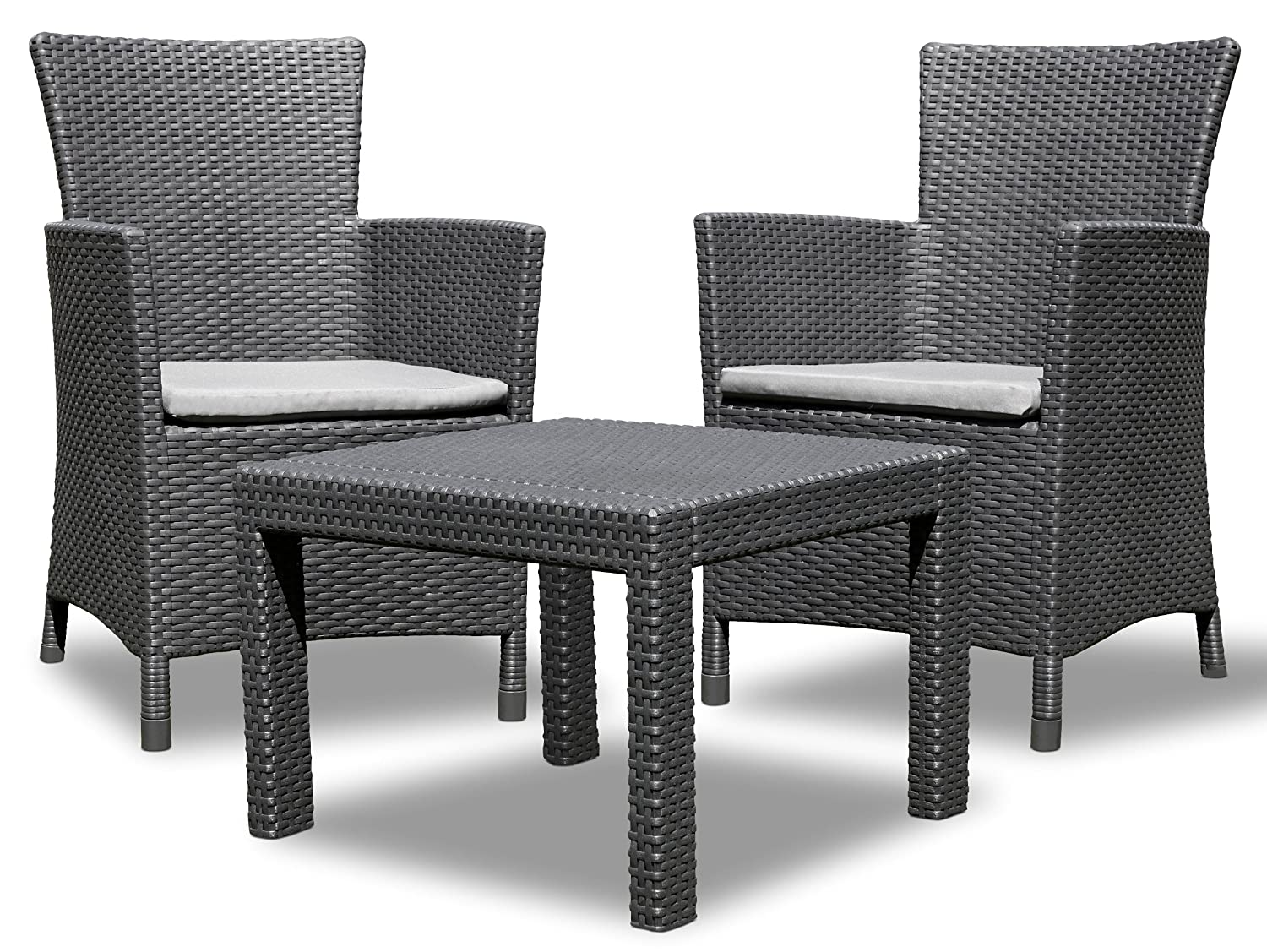 2er set allibert daytona sonnenliege kunststoff gartenm bel rattanoptik graphit exklusiv bezug. Black Bedroom Furniture Sets. Home Design Ideas