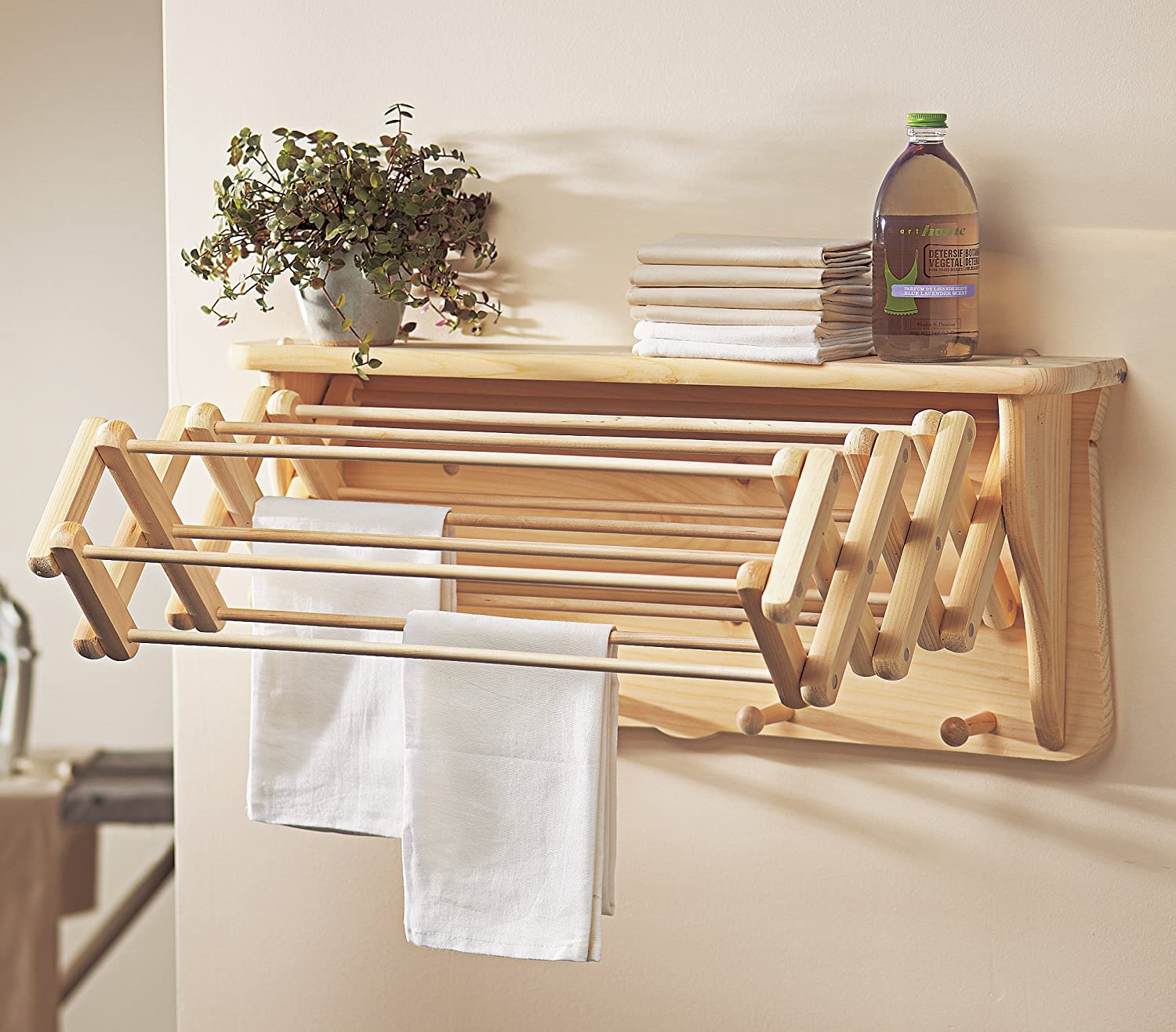 wooden laundry rack drying shelf wardrobe wall folding mount hanger cloths stand ebay. Black Bedroom Furniture Sets. Home Design Ideas